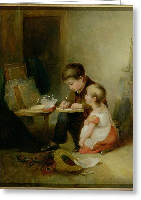 Victorian Photographs Greeting Cards - Two Children At Drawing Lessons Oil On Panel Greeting Card by John Frederick Pasmore