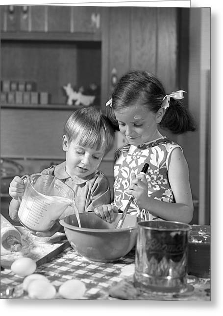 Two Children Baking, C.1960s Greeting Card by H. Armstrong Roberts/ClassicStock