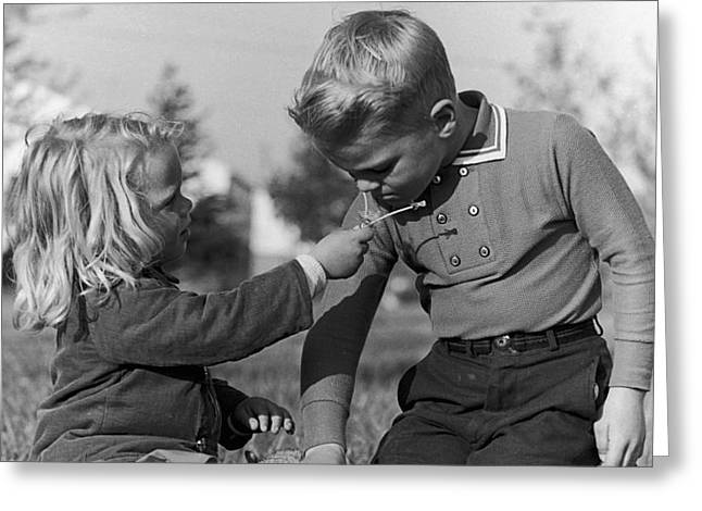 Two Children Greeting Card by Hans Namuth