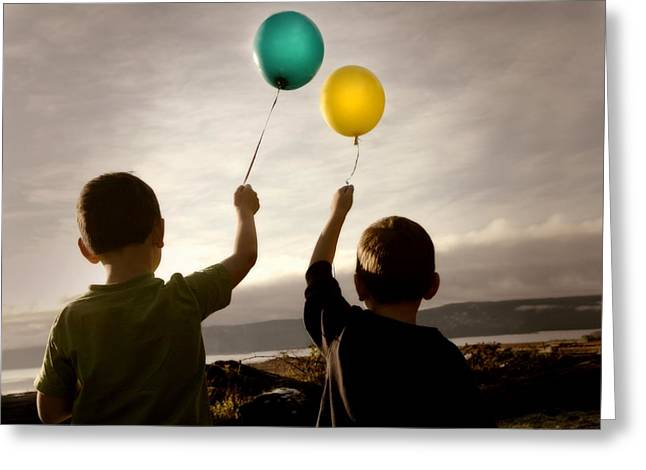 Young Albert Greeting Cards - Two Children With Balloons Greeting Card by Con Tanasiuk