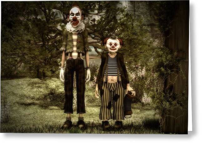 Singular Greeting Cards - Two clowns in the forest. Greeting Card by Ramon Martinez