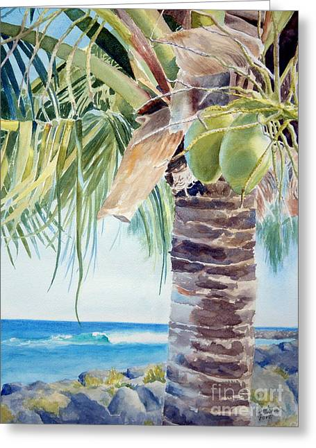 two coconuts -SOLD Greeting Card by Lisa Pope