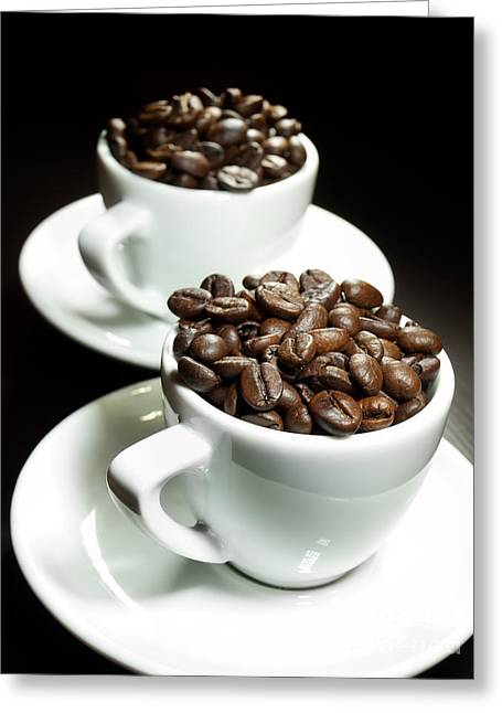 Seed Pot Greeting Cards - Two coffee cups Greeting Card by Sinisa Botas