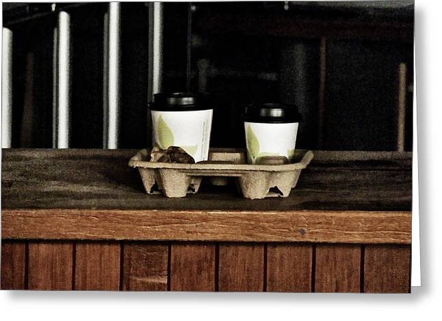 Aftershock Greeting Cards - Two Coffees and a Muffin to Takeaway Greeting Card by Steve Taylor