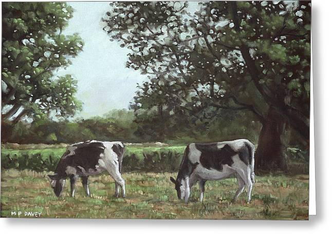 Cattle Farming Greeting Cards - Two Cows in field at Throop Dorset UK Greeting Card by Martin Davey