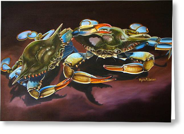 Phyllis Beiser Greeting Cards - Two Crabs Greeting Card by Phyllis Beiser