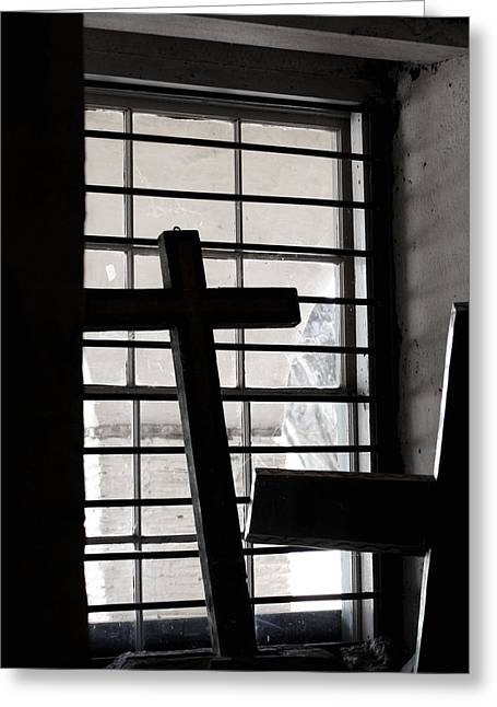 San Juan Bautista Greeting Cards - Two Crosses Greeting Card by Art Block Collections