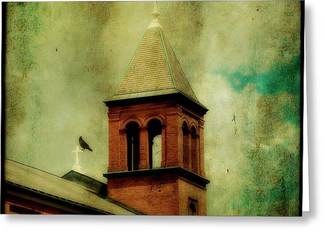 Two Crosses Two Crows Greeting Card by Gothicolors Donna Snyder