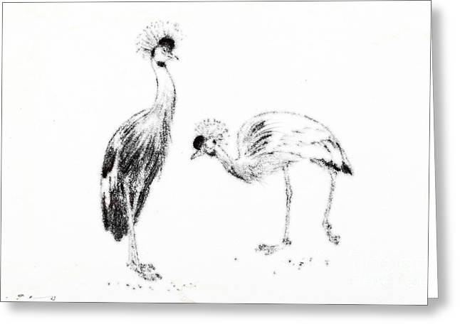 Pair Pastels Greeting Cards - Two Crowned Cranes Greeting Card by Kurt Tessmann