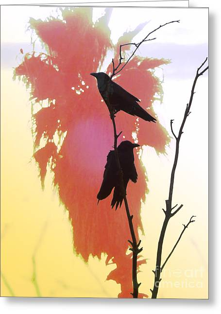 Two Crows Greeting Cards - Two Crows Greeting Card by Robert Ball
