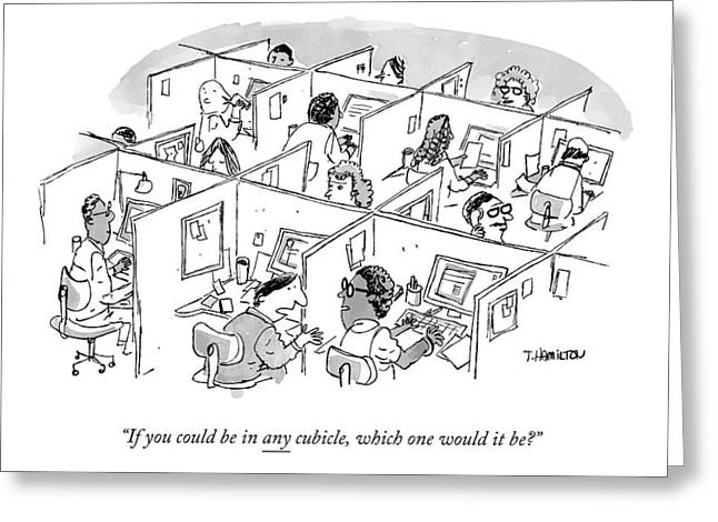 Two Cubicle Employees Talk Greeting Card by Tim Hamilton