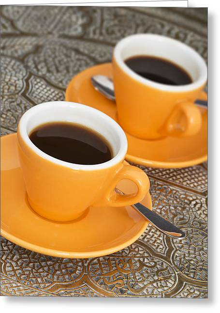 Italian Restaurant Greeting Cards - Two cups of espresso Greeting Card by Chevy Fleet