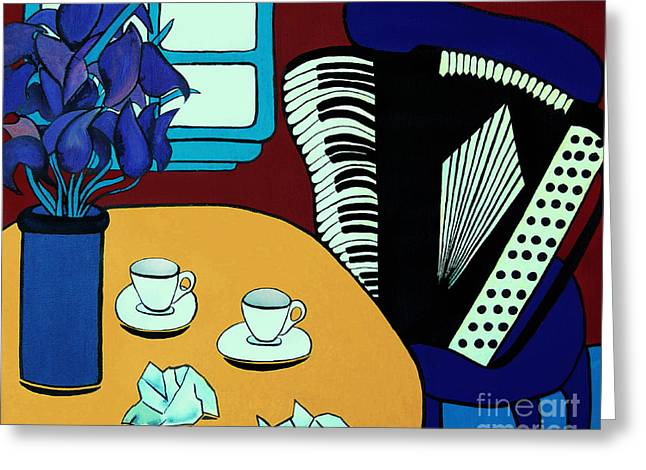 Barbara Mcmahon Greeting Cards - Two Cups One Accordian Greeting Card by Barbara McMahon