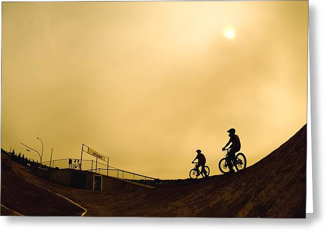 Two Cyclists Greeting Card by Corey Hochachka