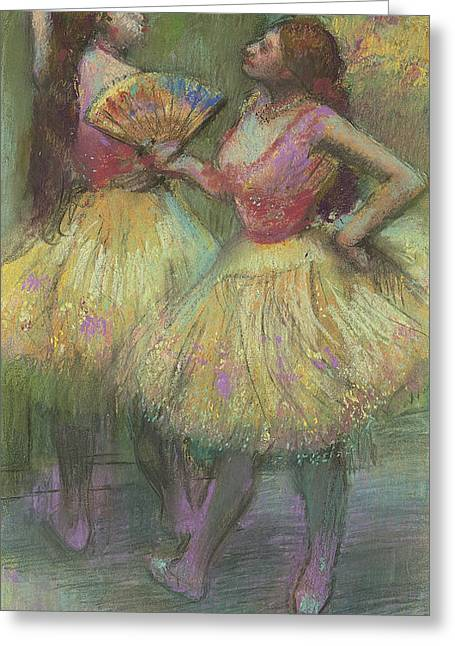 Ballerinas Pastels Greeting Cards - Two Dancers Before Going on Stage Greeting Card by Edgar Degas