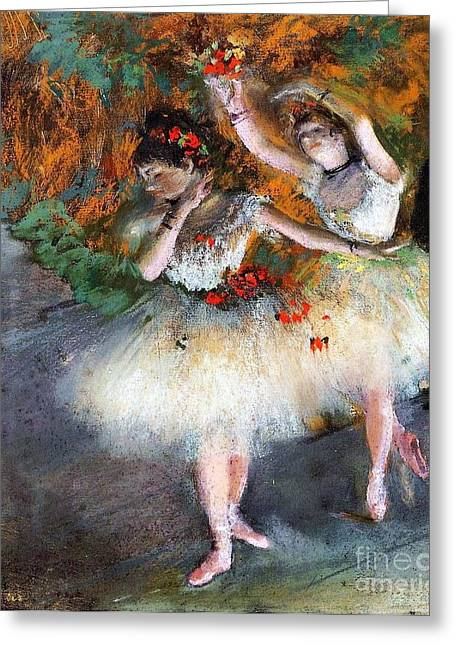 Two Dancers Entering The Scene Greeting Card by Pg Reproductions