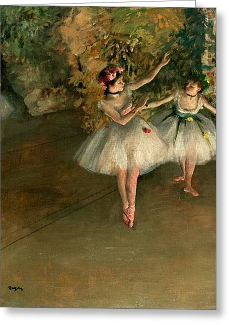 1874 Greeting Cards - Two Dancers on Stage Greeting Card by Edgar Degas