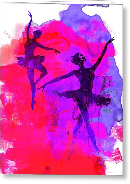 Ballet Art Greeting Cards - Two Dancing Ballerinas 3 Greeting Card by Naxart Studio