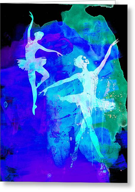 Dancing Girl Greeting Cards - Two Dancing Ballerinas  Greeting Card by Naxart Studio