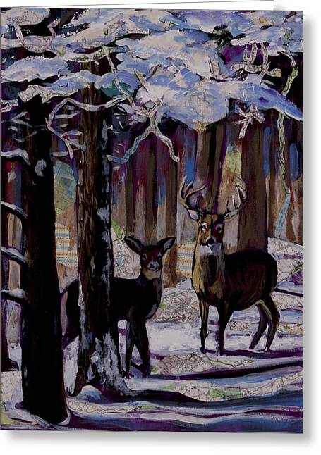 Two Deer In Snow In Woods Greeting Card by Tilly Strauss