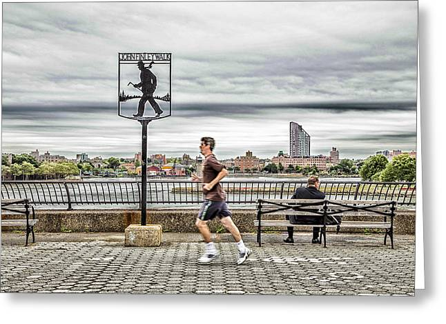 Jogging Greeting Cards - Two Different Lives Greeting Card by Karol  Livote