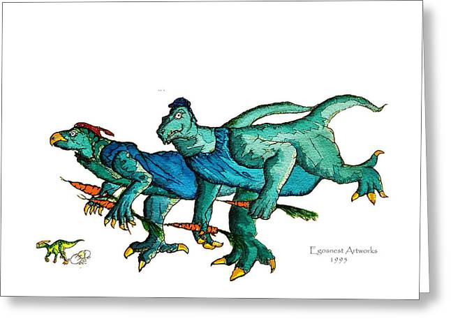 Recently Sold -  - Humorous Greeting Cards Greeting Cards - Two Dinos on the Run  Greeting Card by Michael Shone SR