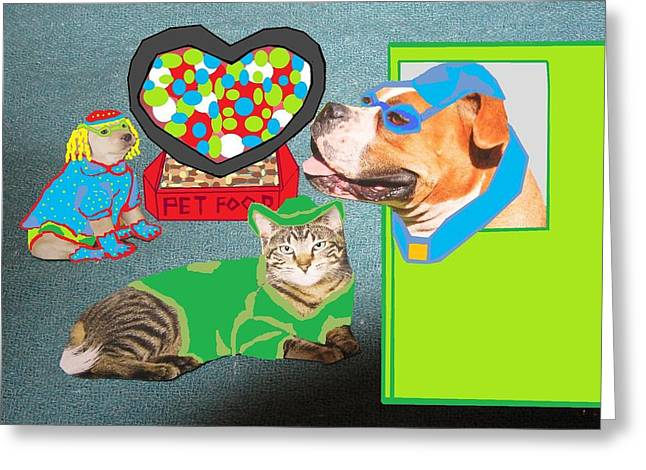 Dog Sweaters Greeting Cards - Two Dogs and a Cat Greeting Card by Joan Shortridge