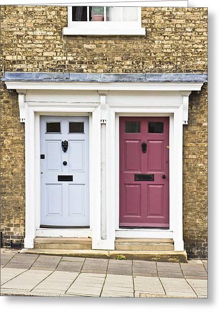 Doorsteps Greeting Cards - Two doors Greeting Card by Tom Gowanlock
