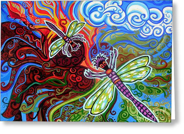 Yellow Flowers Stretched Prints Greeting Cards - Two Dragonflies Greeting Card by Genevieve Esson