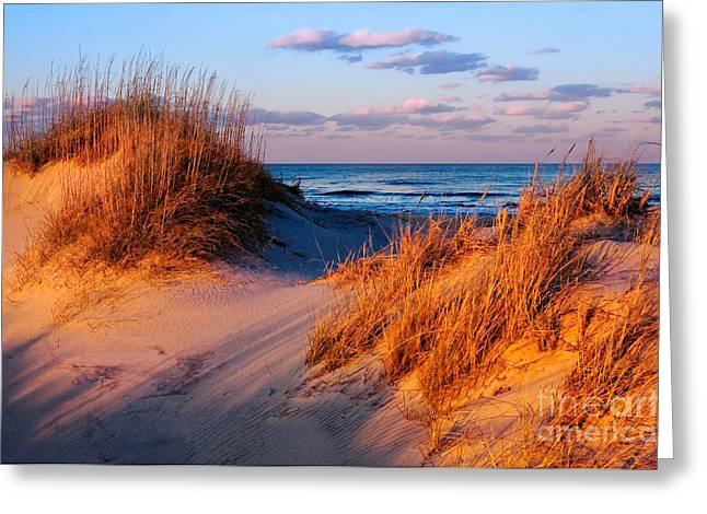 Decorate Greeting Cards - Two Dunes at Sunset - Outer Banks Greeting Card by Dan Carmichael