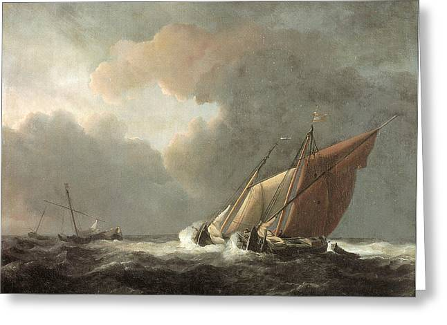 Wind In The Sails Greeting Cards - Two Dutch Vessels Close-Hauled in a Strong Breeze Greeting Card by Willem van de Velde the Younger