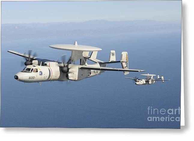 Ventura California Greeting Cards - Two E-2c Hawkeye Aircraft Fly Greeting Card by Stocktrek Images