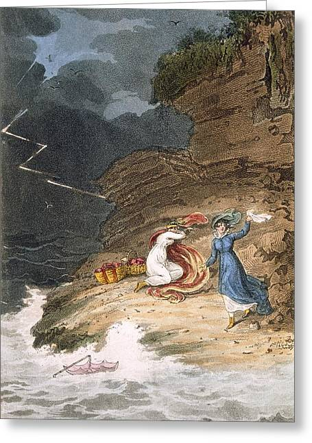 Umbrella Drawings Greeting Cards - Two Early Regency Belles Caught Greeting Card by James Green