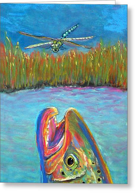 Trout Fishing Pastels Greeting Cards - Two Emperors Greeting Card by Anderson R Moore