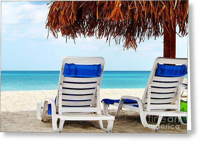 Empty Chairs Greeting Cards - Two empty chairs by the sea Greeting Card by Sylvie Bouchard