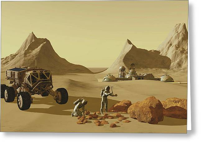 Two Explorers Collect Rock Samples Greeting Card by Corey Ford