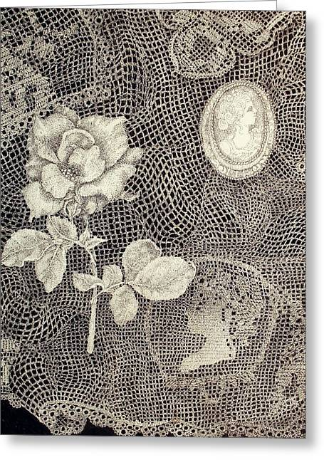 Cameo Drawings Greeting Cards - Two Faces in Time Greeting Card by Jennifer Kirton