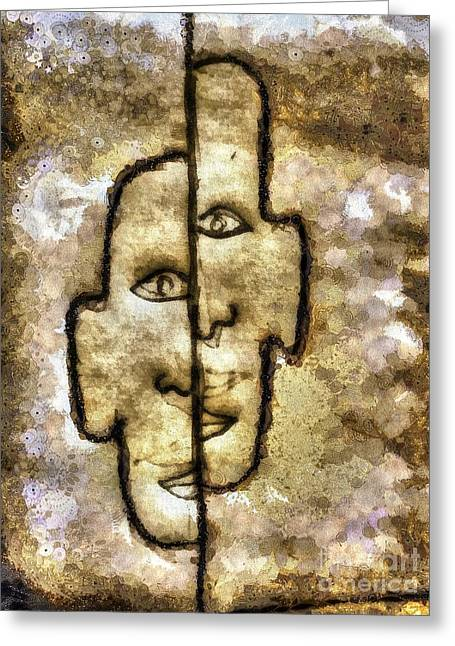 Bred Mixed Media Greeting Cards - Two Facetwo Greeting Card by Yury Bashkin