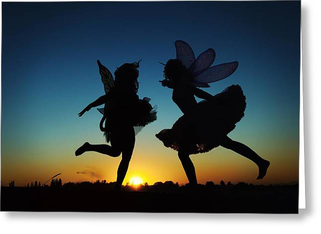 Faries Greeting Cards - Two Fairies Kicking Up Some Fairy Dust Greeting Card by Kriss Russell