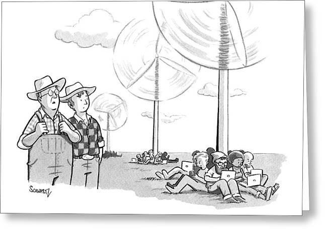 Two Farmers Overlook Wind Fans Greeting Card by Benjamin Schwartz