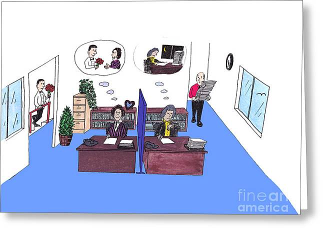 Two female office workers thinking Greeting Card by LEE SERENETHOS