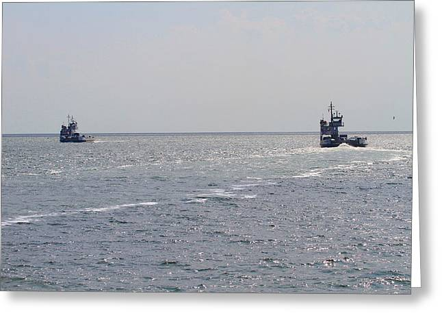 Photographers Conyers Greeting Cards - Two Ferries To Ocracoke 2 Greeting Card by Cathy Lindsey