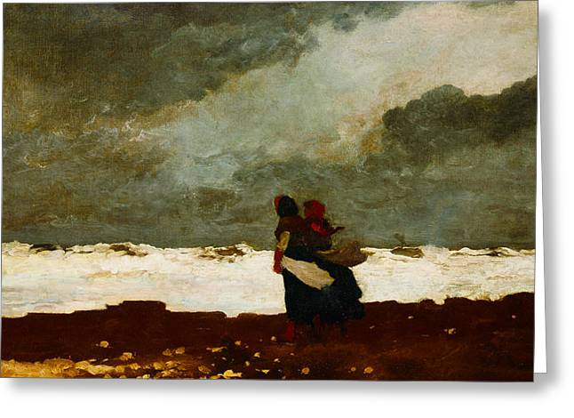 Winslow Homer Digital Art Greeting Cards - Two Figures By The Sea Greeting Card by Winslow Homer