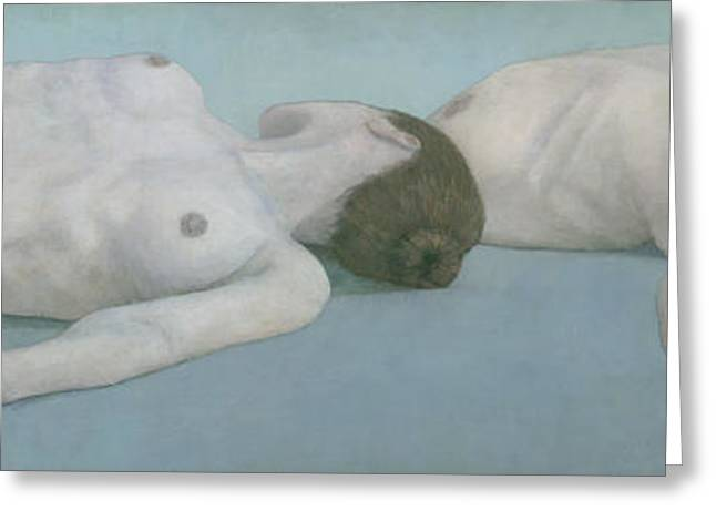 Muted Greeting Cards - Two Figures Lying Greeting Card by Steve Mitchell