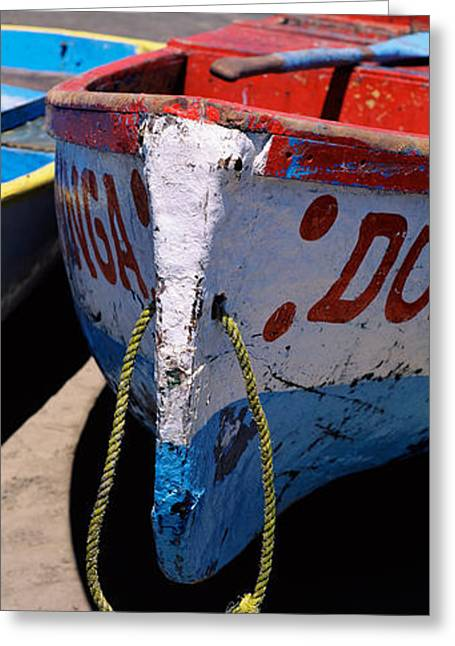 Water Vessels Greeting Cards - Two Fishing Boats On The Beach Greeting Card by Panoramic Images