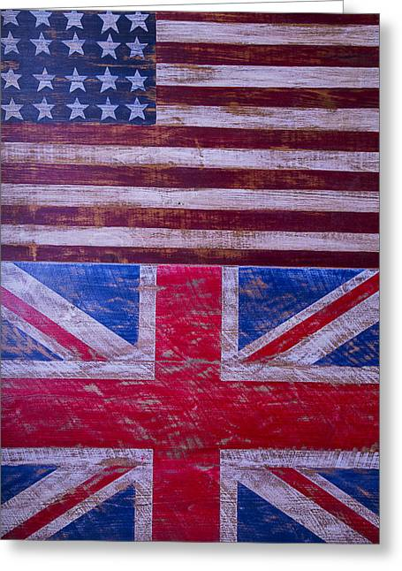 Saint George Greeting Cards - Two Flags American and British Greeting Card by Garry Gay