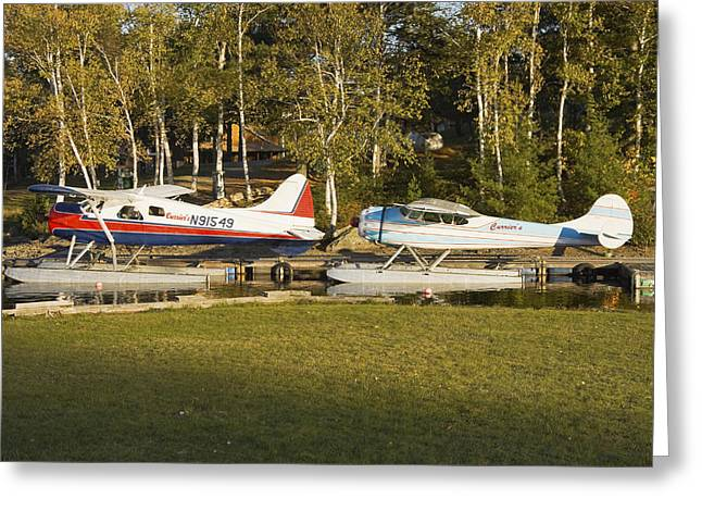 Vintage Airplane Greeting Cards - Two Float Planes On Moosehead Lake Near Greenville Maine  Greeting Card by Keith Webber Jr