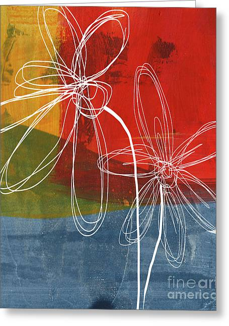 Lines Mixed Media Greeting Cards - Two Flowers Greeting Card by Linda Woods