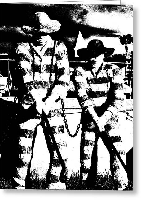 Prison Stripes Greeting Cards - Two For Chain Gang Blues Greeting Card by Gustave Kurz