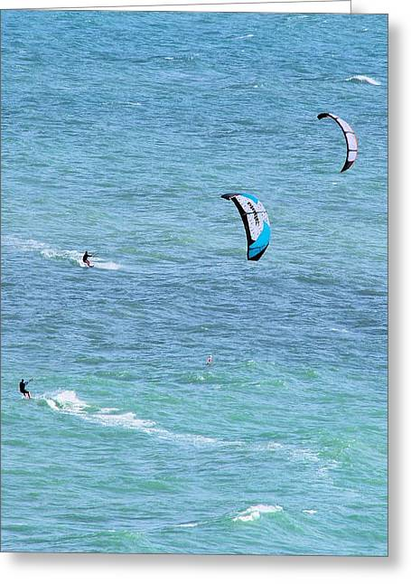 Kite Surfing Greeting Cards - Two for One Greeting Card by Linda  Barone